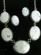 Herman Vandever White Buffalo Sterling Silver Navajo Jewelry Set Signed