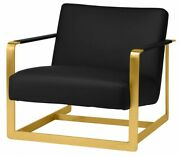 30.8 W Occasional Chair Black Faux Leather Gold Polished Metal Framework