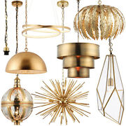 Hanging Ceiling Pendant Lights -antique Brass And Gold Effect- Modern Indoor Lamps