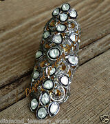 Vintage Style 4.79cts Rose Antique Cut Diamond Silver Full Finger Ring Jewelry