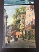 Lovely Vintage Pair Oil Paintings Of European Street And Canal Scenes