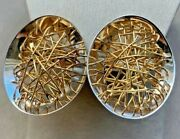 Quadri Signed Modern 2-tone Earrings In 18k Solid Gold With Wire Design