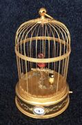 Reuge Bird Cage Two Singing Birds And Alarm Clock Rare And Working