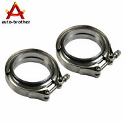 3and039and039 2 Pcs V-band Flange And Clamp Kit Stainless Steel For Turbo Exhaust Downpipes