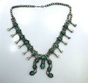 Vintage Native American Silver And Turquoise Squash Blossom Necklace F Barker