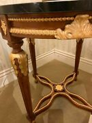 Luxury Italian Furniture - Round End Table With Nero Marquina Marble