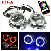 3.0h1 Bi Xenon Hid Projector Lens Shrouds Rgb Angel Eye Halo Ring Bluetooth App