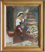 Maria Martinetti 1864-1921 Original Oil Painting Mother And Child Spinning Flax