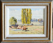 Dudley Parker 1914-89 Original Oil Painting Golden Poplars And Cattle Bombowlee