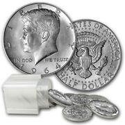 1964 Kennedy Halves 10 Face Value 90 Silver 20 Coin Roll Average Circulated