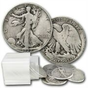 Halves Walking Liberty 10 90 Silver 20 Coin Roll Average Circulated Full Dates