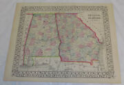 1867 Antique Color Mitchell Map Of Georgia And Alabama