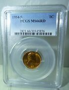1954-s Lincoln Wheat Penny Cent Pcgs Certified Ms 66 Rd Red