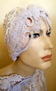 Gatsby 20and039s Scalloped Beaded Lace Crystal Flapper Bridal Wedding Headpiece Hat