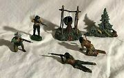 Elastolin Cowboys And Indians Native Americans In A Battle Composition Toys