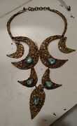 Mid Century Brutalist Pal Kepenyes Brass And Turquoise Necklace