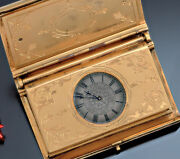 Antique Book Form Travel Watch Leuchars Piccadilly London Gilt Case Silver Dial
