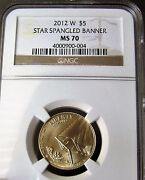 2012-w Gold 5 Star-spangled Banner Commemorative Coin - Ngc Ms70, Low Mintage