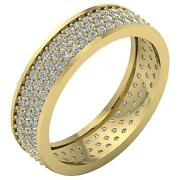 Natural Diamond 3 Row Eternity Wedding Ring Vs1 F 1.50ct Pave Set 14k Solid Gold