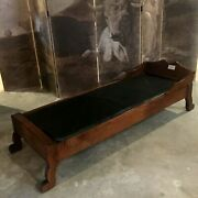 Antique Oak Doctorand039s Examination Lounge / Chair Bed