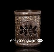 13 Cm Chinese Pure Bronze Hollow Out Lucky Blessing Bat Money Wealth Brush Pot