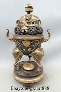 21 Chinese Pure Bronze 24k Gold Silver-gilt Elephant Zun Incense Burners