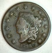 1833 Coronet Large Cent Us Copper Type Coin Very Fine N1 1c Penny Circulated