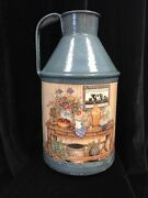 Large Enameled Milk Can, Farm Country Romantic Decor 16.5 Tall