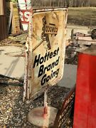 Vintage Original Conoco Hottest Brand Going Curb Sign Gas Oil Car Old Patina