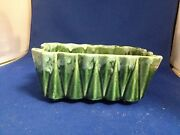 Upco Pottery==green Accordian Planter-----------------------------------jw