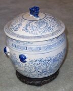 Vintage Chinese Large Tradnal Covered Urn Ginger Jar Blue And White With Lid