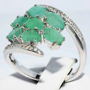 0.60cts Diamond 14cts Solid White Gold Emerald Studded Anniversary Wedding Ring