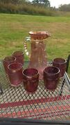 Eapg -us Glass 15065 Bryce Delaware Pitcher And 6 Glasses Rose Flashed/gold