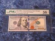 100 Series 2009a Federal Reserve Note Chicago Star Note Pmg 58 Epq- Nice