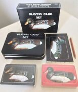 Vintage Mallard Duck Decoy Playing Card Set In Tin Box Hunting Never Used New