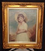 Miss Juliana Willoughby By George Romney Canvas Transfer W Gold Frame Dand039nunzio