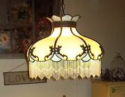 Style Stained Glass Hanging Lamp W Beads Antique Blue And White Victorian