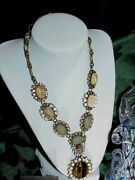 Qvc Rare Joan Rivers Crystal Tiger Eye Statement Necklace Chunky New Box Pouch