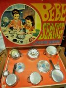 Unique Vintage Greek Girls Tin Play Set Bebe Service From 60s Mib