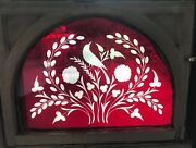 Very Rare Ruby Wheel Cut Stained Glass Window