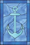 Faux Stained Glass Window Cling Nautical Anchor Water Bathroom Sunblock Privacy