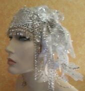 Silver Gatsby 20and039s Waterfall Bead Lace Crystal Flapper Headpiece Hat Bridal