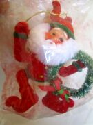 Vintage Rare Flocked Elf/gnome Red Suit Huge Ears And Holding Wreath Xmas Ornament