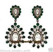 Vintage Style 4.02cts Antique Cut Diamond Emerald Studded Silver Earring Jewelry