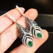 Natural Diamond Green Emerald Engagement Feather Earrings Solid 18k White Gold