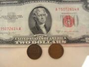 3 =1+2 Rare Big Sale 1 Red Seal Us2 Bill Paper Money +2 Old One Cent Usa Coins