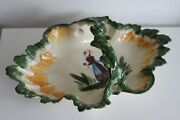 Rare French Hb Quimper Pottery Basket Serving Dish Flowers France