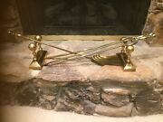 Antique Vintage 4 Piece Victorian Brass Firedogs And Fireplace Tools Rest Set
