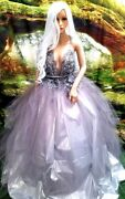Melinda Romantic Ethereal 3d Pewter Lace Silver Lameand039 Wedding Bridal Ballgown