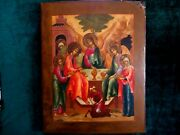 Rare Antique Religius Hand Painted Icon Holy Obedience